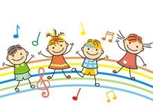 Dancing Children, Vector Icon,