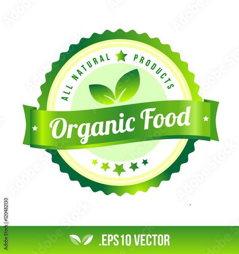 Organic Food Badge Label Seal Stamp Logo Text Design Green Leaf Template Vector Eps