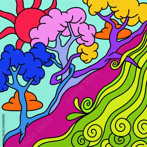 Spoed Foto op Canvas Klassieke abstractie three colored trees