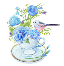 Bouquet Of Flowers In A Cup Of Rose,peony Sprays,hydrangea,wildflowers,and A Little Bird. Illustration Watercolor