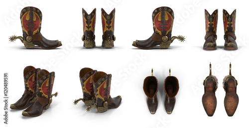 Vászonkép Wild west leather cowboy boots with spurs isolated on white 3d Illustration
