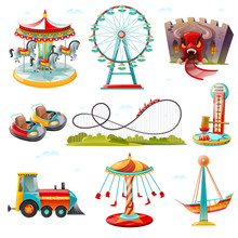 Amusement Park Attractions Flat Icons Set
