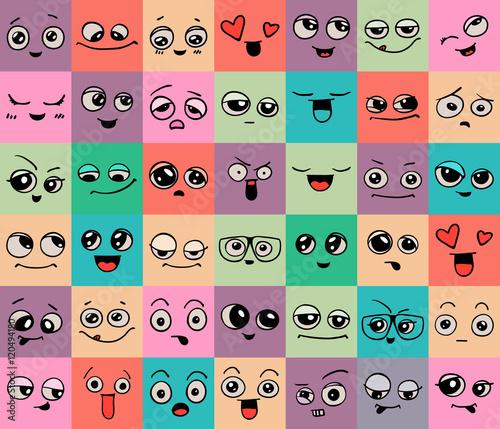 Photo sur Aluminium Art abstrait Emotions. Set of doodle faces. Smile.