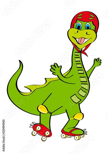 Photo  dinosauro con pattini e casco