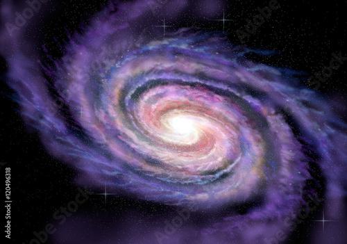 Fotografía Spiral Galaxy in deep spcae, 3D illustration