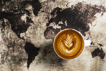 Top View Of Latte Coffee Art O...