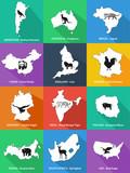 Państwa świata i zwierzęta - symbole tych państw