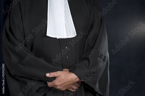 Fotomural Lawyer in gown with jabot hands close up judge