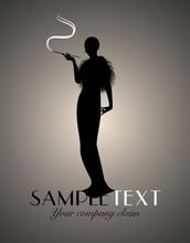 Elegant Silhouette Lady Smoking. Art Deco Style. Good For Logo.