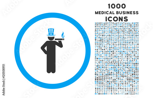 American Capitalist rounded vector bicolor icon with 1000 medical business icons Poster