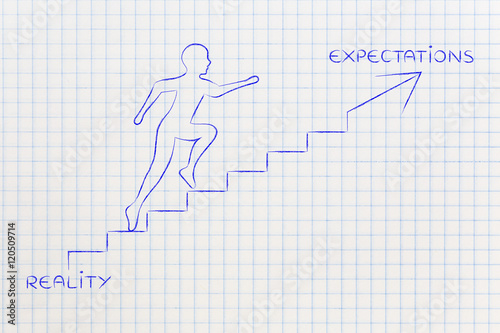Fotografie, Obraz  reality or expectations, man climbing stairs metaphor