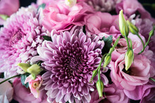 Bouquet Of Pink Flowers Closeup, Eustoma And Chrysanthemum