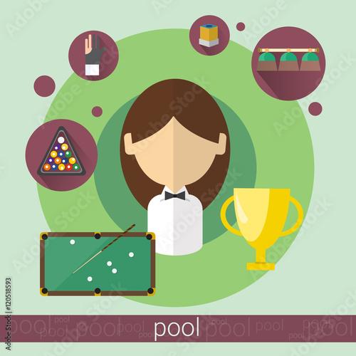 Staande foto Kunstmatig Pool Game Player Young Girl Billiards Icon