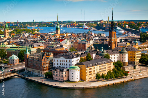 Fotobehang Stockholm Cityscape of Stockholm. Panorama view of historical part of Stockholm in Sweden