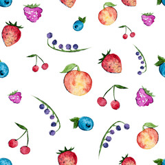 Panel Szklany Owoce Set of watercolor berries