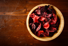 Bowl Of Potpourri  On Dark Woo...