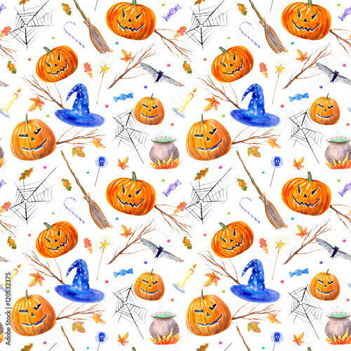 Cotton fabric seamless pattern with pumpkin jack-o'-lantern, lollipop,broom,candle,broom,tree,autumn leaves and candy.halloween.watercolor hand drawn illustration.white background.