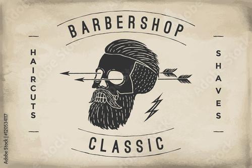 Printed kitchen splashbacks Watercolor skull Poster of Barbershop label on a beige paper texture