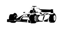 Formula Racing Car, Abstract Vector Silhouette