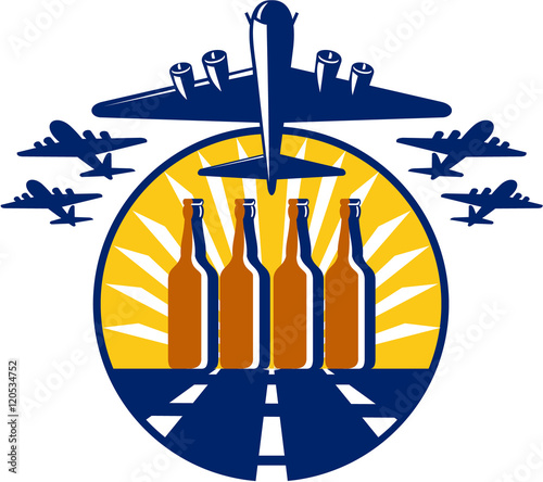 Fototapeta B-17 Heavy Bomber Beer Bottle Circle Retro