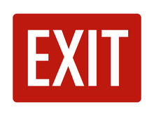 Red Exit Sign With Text Flat V...