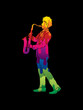 Saxophone player designed using melt colors graphic vector.