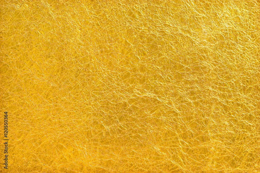 Fototapety, obrazy: Shiny yellow leaf gold foil texture background