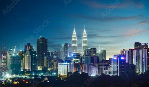 Kuala Lumpur skyline at night Wallpaper Mural