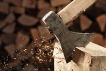 Axe Cutting Wood Block