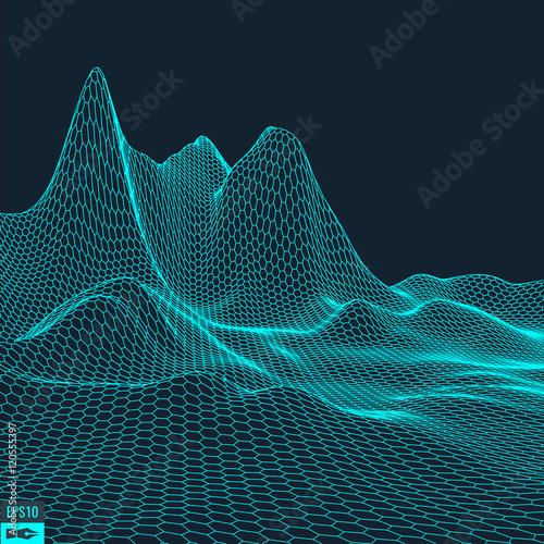 Staande foto Fractal waves Abstract vector landscape background. Cyberspace grid. 3d technology vector illustration.