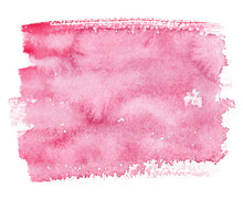 Pale Pink Rectangle Painted In Watercolor On Clean White Background