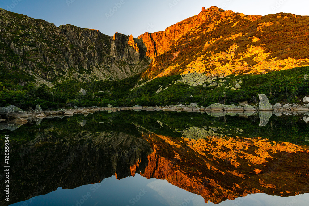 Fototapety, obrazy: Panorama of small pond on Sniezne Kotly in Sudety Mountains, view from below on .ridge.