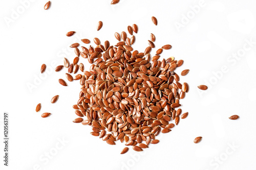 Poster Graine, aromate Flax seeds on white background