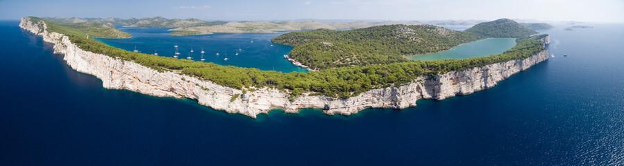 Panoramic view of Telascica cliffs in National park Kornati, Adriatic sea in Croatia