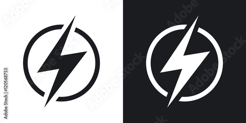 Obraz Lightning icon, vector. Two-tone version on black and white background - fototapety do salonu