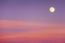Full Moon With Sunset Clouds