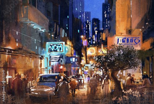 colorful painting of night street,cityscape,illustration