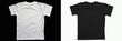 Leinwandbild Motiv Black cotton t-shirt on a white background.  White cotton T-shirt on a black background