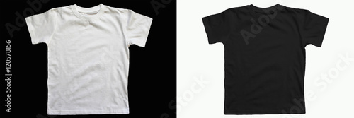 obraz PCV Black cotton t-shirt on a white background. White cotton T-shirt on a black background