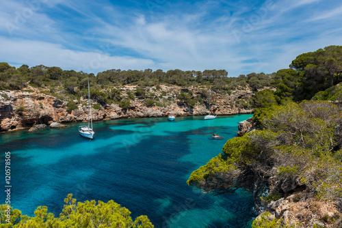 Sail yachts in bay near Cala Pi, Mallorca, Balearic Islands, Spain.