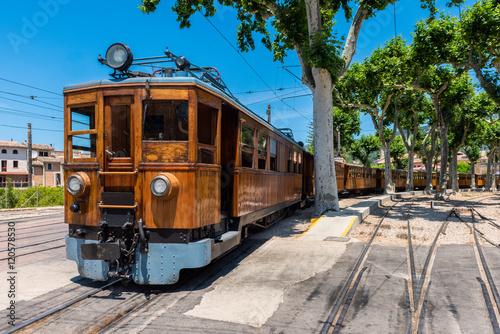 Historic electric train at Soller Trainstation, Mallorca, Balearic Islands, Spain. It operates between capital Palma de Mallorca and Soller and is an important tourist attraction nowadays.
