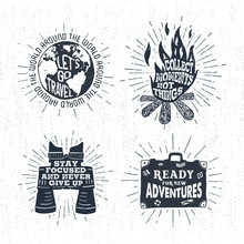 Hand Drawn Textured Vintage Labels Set With Globe, Bonfire, Binoculars, Suitcase, And Lettering Vector Illustrations.