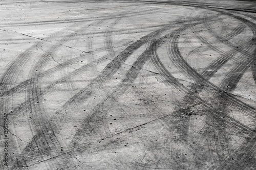 Tire burnout marks on road track background Canvas-taulu