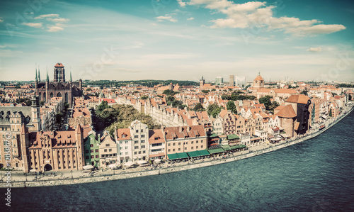 obraz dibond Panorama of Gdansk old town and Motlawa river in Poland. Vintage