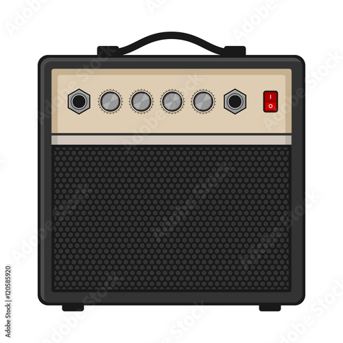 Photo Electric Guitar Amplifier on White Background. Vector