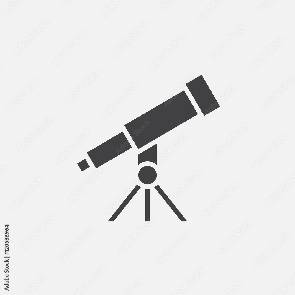 Fototapety, obrazy: telescope solid icon, vector illustration, pictogram isolated on white