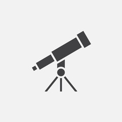 telescope solid icon, vector illustration, pictogram isolated on white