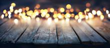 Bokeh Of Christmas Lights On Vintage Wooden Plank