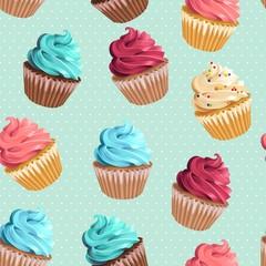 Tapeta Seamless cupcakes and polka dot