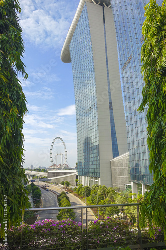 Photo  Downtown Cityscape of Marina Bay Sands and Singapore Flyer